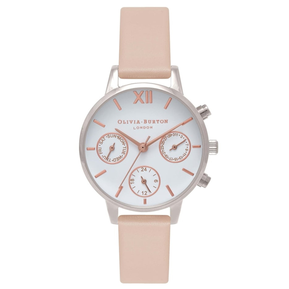 Midi Dial Chrono Detail Watch - Nude Peach, Silver & Rose Gold