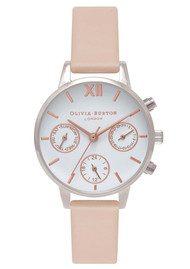 Olivia Burton Midi Dial Chrono Detail Watch - Nude Peach, Silver & Rose Gold