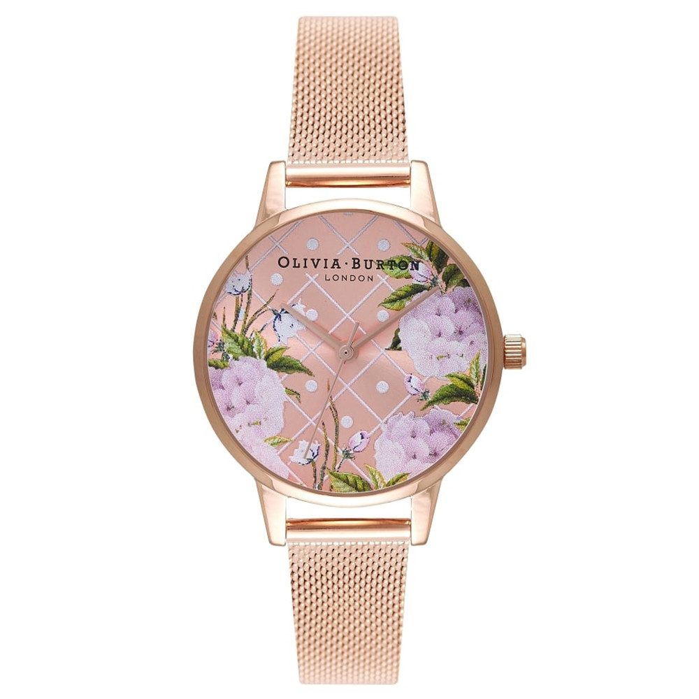 Dot Design Floral Mesh Watch - Rose Gold