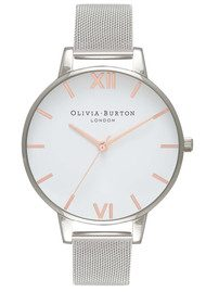 Olivia Burton Big White Dial Mesh Watch - Silver & Rose Gold