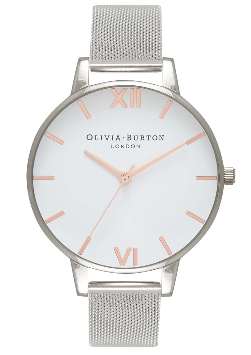 Olivia Burton Big White Dial Mesh Watch - Silver & Rose Gold main image