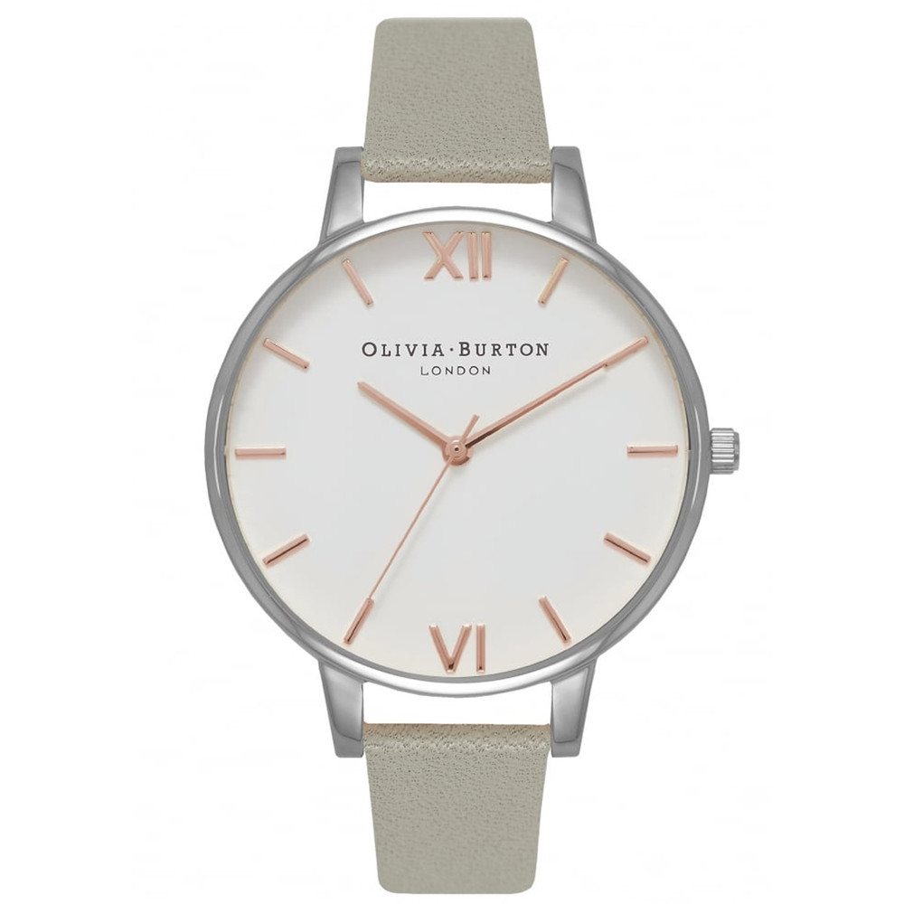 Big White Dial Watch - Grey, Silver & Rose Gold
