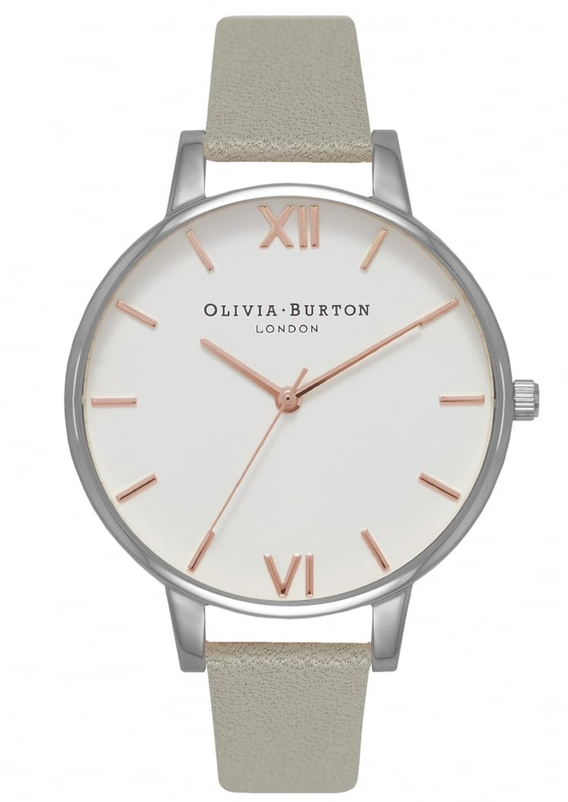Olivia Burton Big White Dial Watch - Grey, Silver & Rose Gold main image