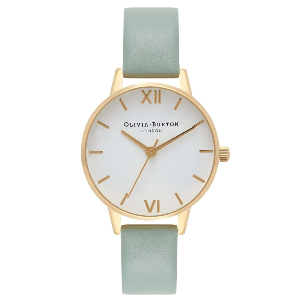 Midi Dial White Dial Watch - Mint & Gold