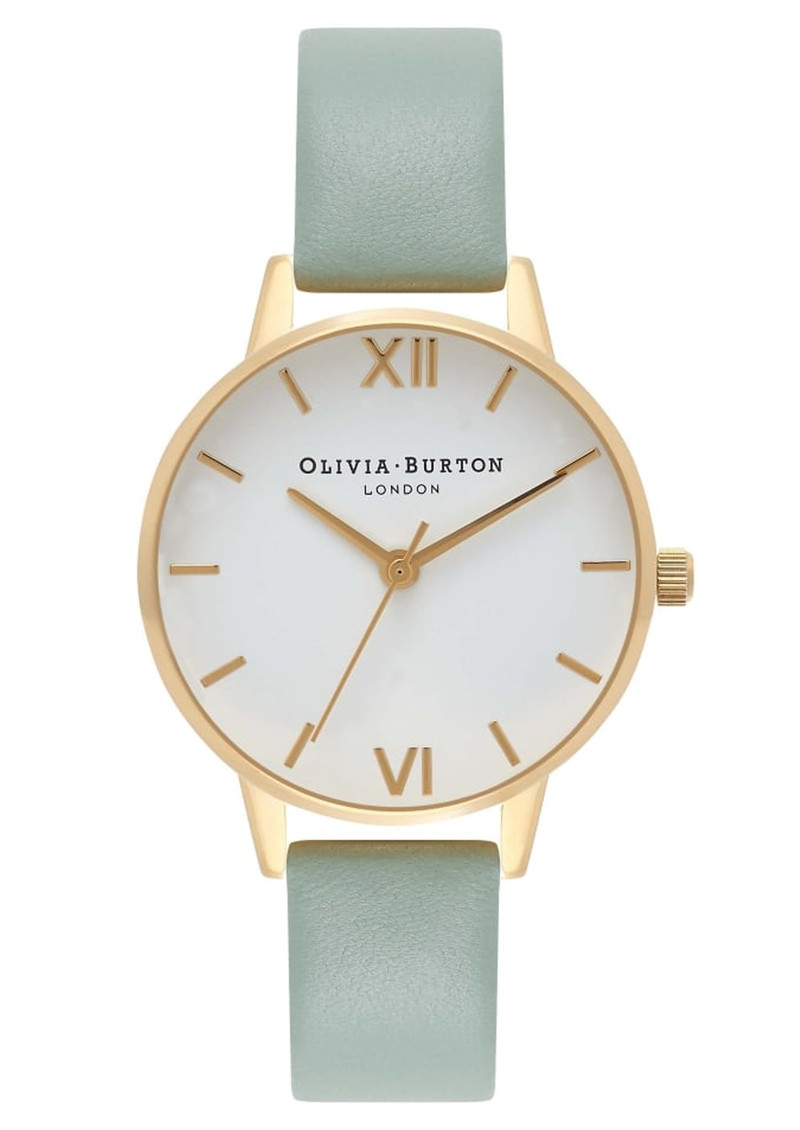 Midi Dial White Dial Watch - Mint & Gold main image