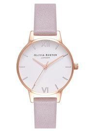 Olivia Burton Midi Dial White Dial Watch - Grey Lilac, Silver & Rose Gold
