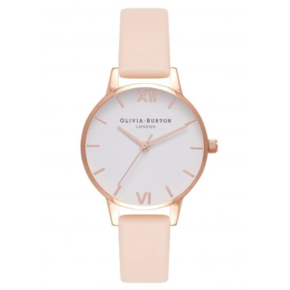Midi Dial White Dial Watch - Nude Peach & Rose Gold