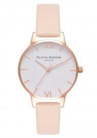 Olivia Burton Midi Dial White Dial Watch - Nude Peach & Rose Gold