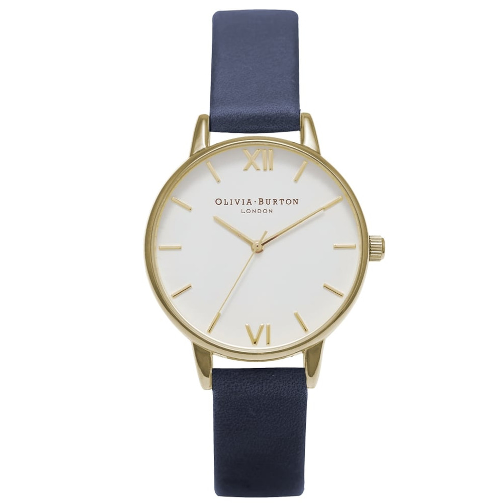 Midi Dial White Dial Watch - Navy & Gold