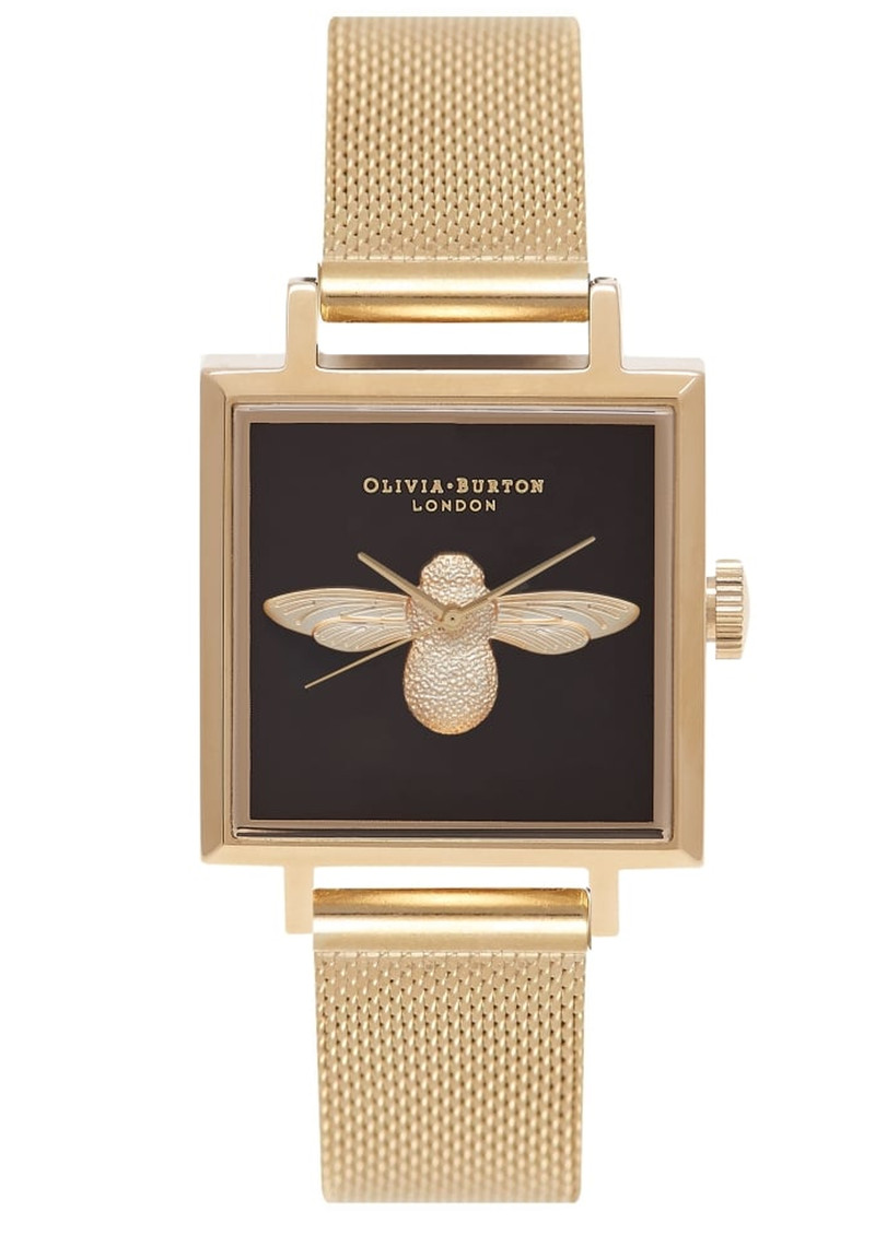 Olivia Burton Square Dial 3D Bee Mesh Watch - Gold main image