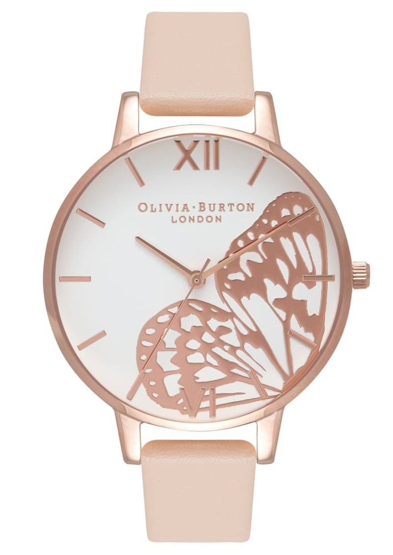Olivia Burton Applied Wing Watch - Nude Peach & Rose Gold main image