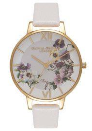 Olivia Burton Embroidery Pansy Watch - Blush & Gold