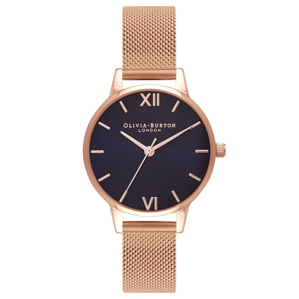 Midi Midnight Dial Mesh Watch - Rose Gold