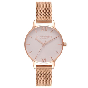 Midi Blush Dial Mesh Watch - Rose Gold