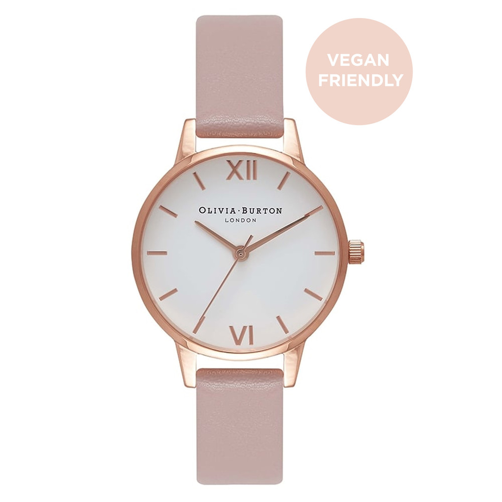 Vegan Friendly Midi White Dial Watch - Rose Sand & Rose Gold