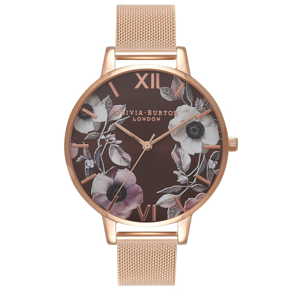 Poppy Brown Dial Mesh Watch - Rose Gold
