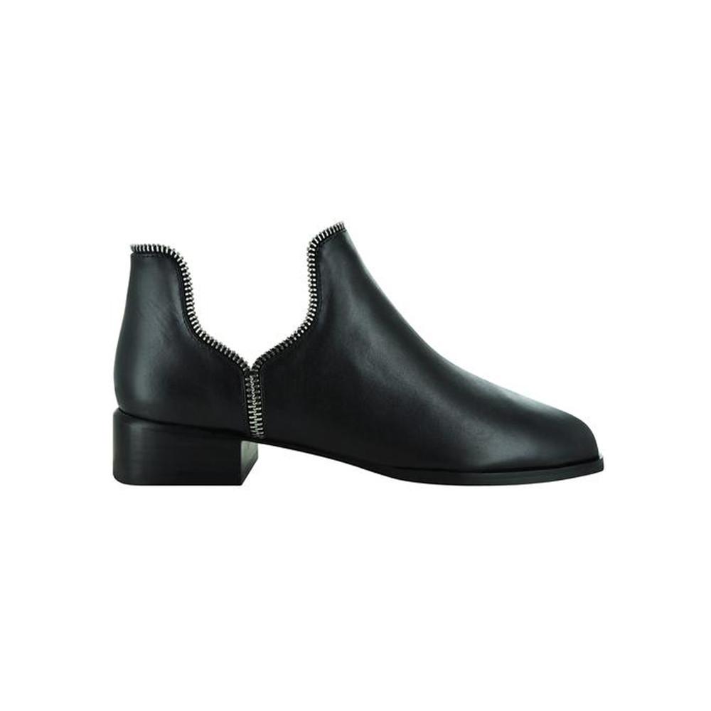 Bailey Boot - Ebony with Silver Zips