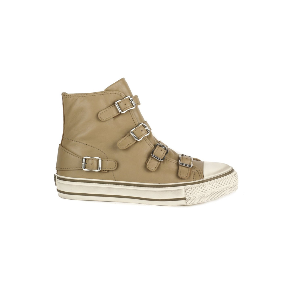 Virgin Leather Buckle Trainers - Taupe