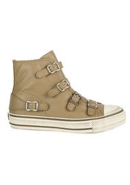 Ash Virgin Leather Buckle Trainers - Taupe