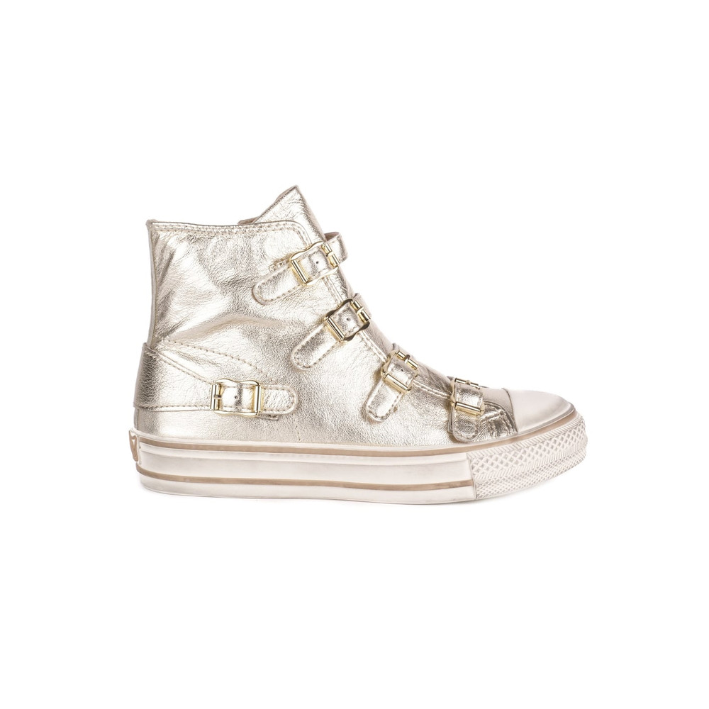 Virgin Leather Buckle Trainers - Platine