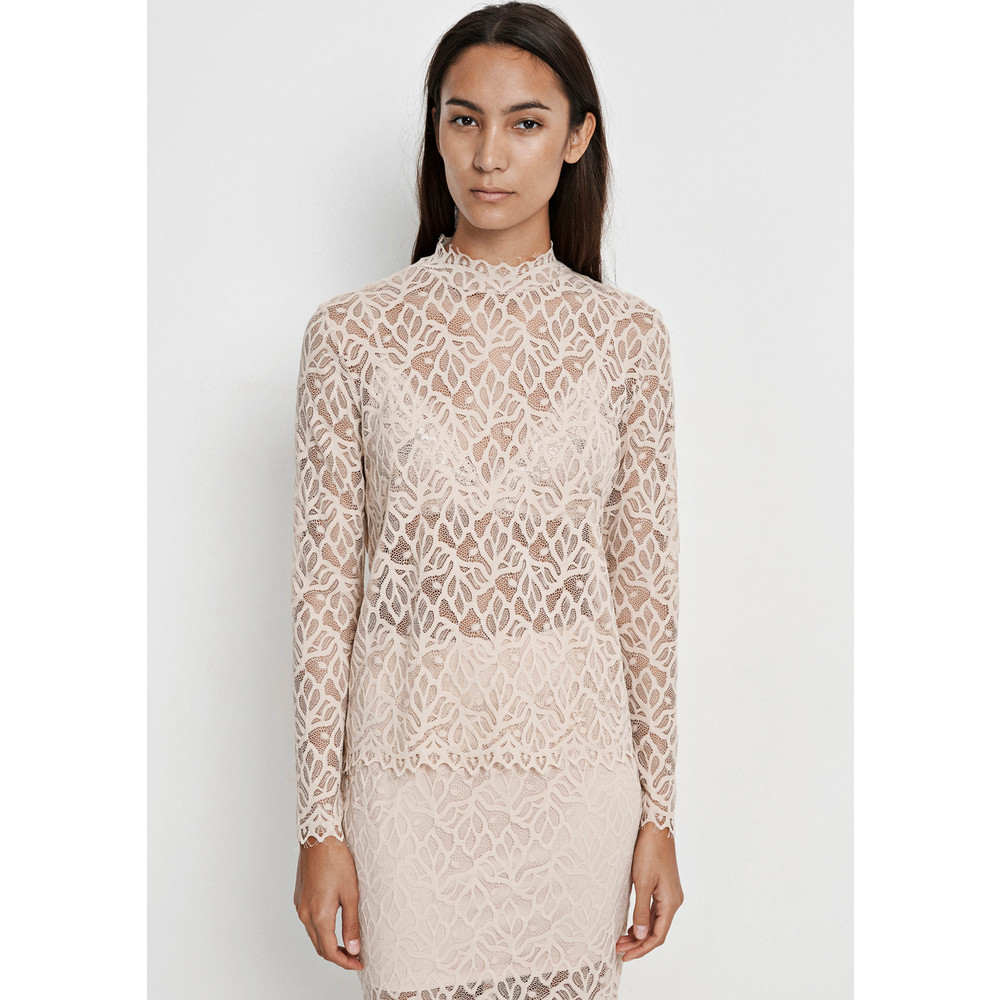 Ibi Lace Long Sleeve Top - Pink Tint