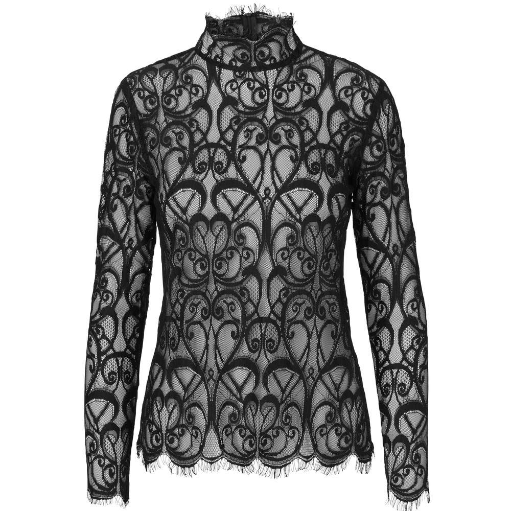 Adelina Long Sleeve Lace Blouse - Noir