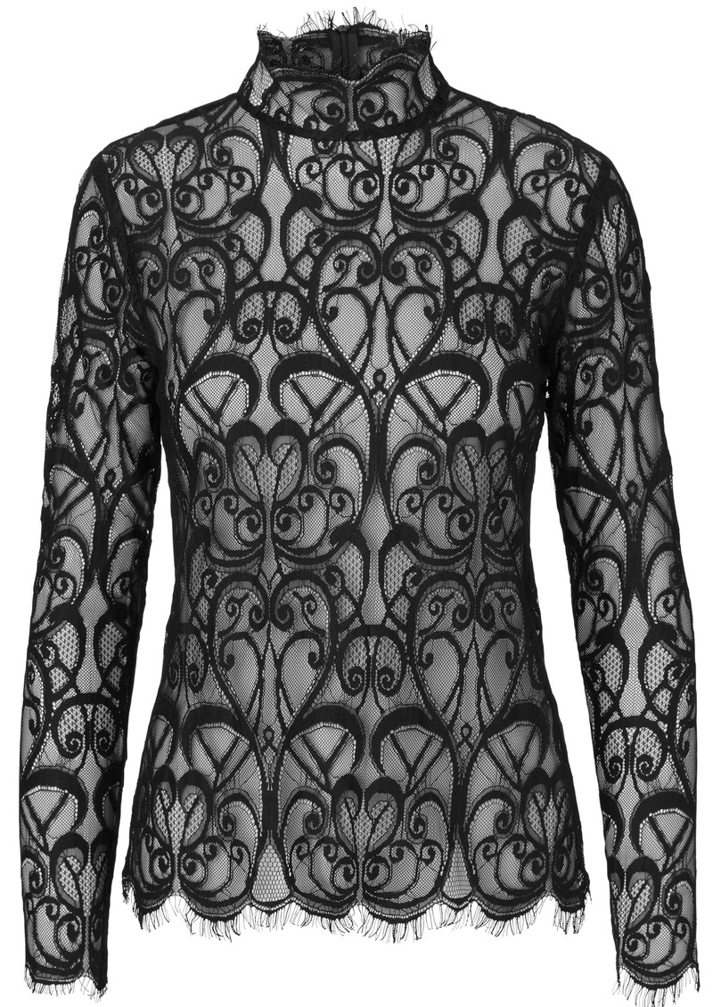 NOTES DU NORD Adelina Long Sleeve Lace Blouse - Noir main image