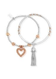 ChloBo Love You More Stack of 2 - Silver & Rose Gold