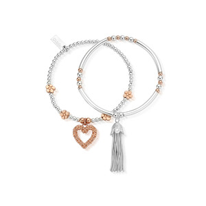 Love You More Stack of 2 - Silver & Rose Gold