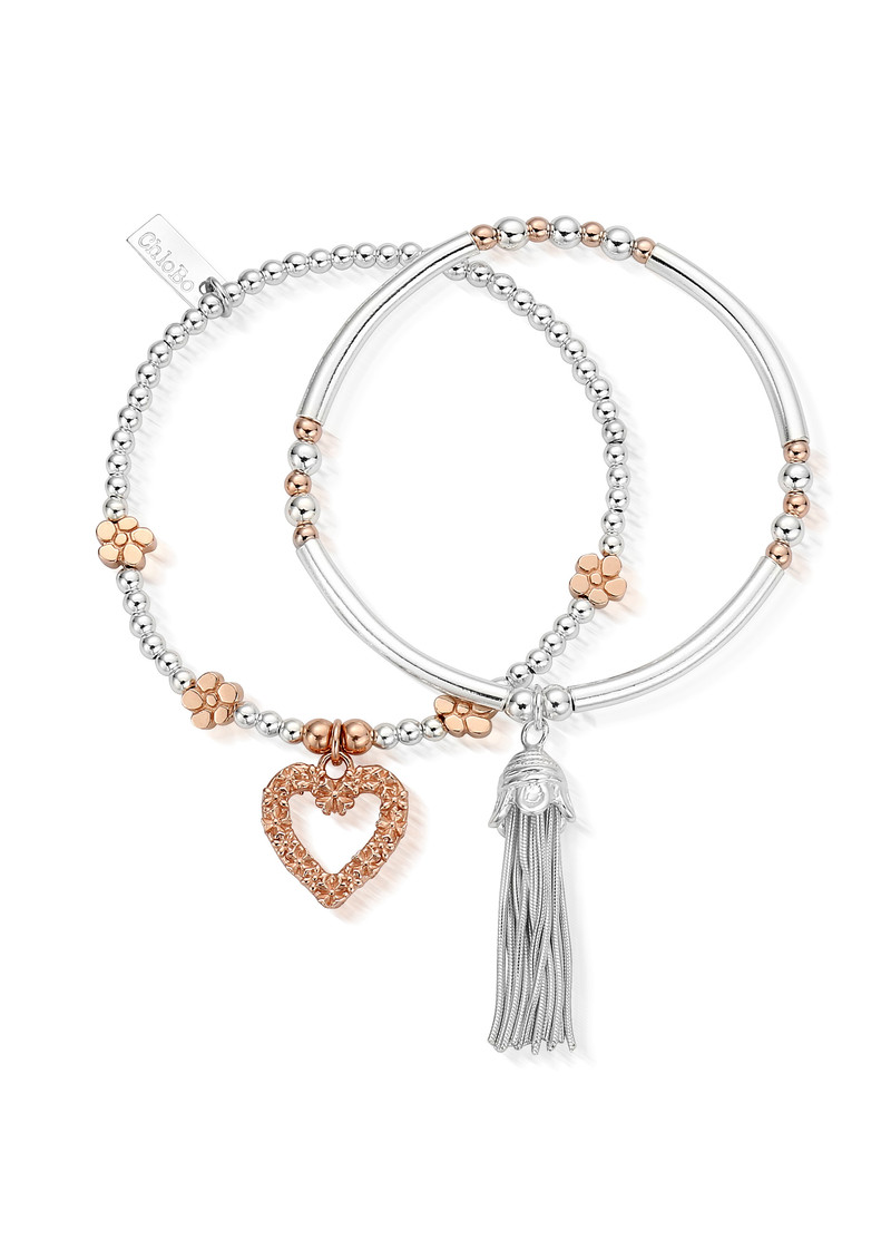 ChloBo Love You More Stack of 2 - Silver & Rose Gold main image