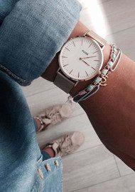 CLUSE La Boheme Mesh Watch - Rose Gold & White