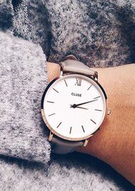 CLUSE Minuit Rose Gold Watch - White & Grey