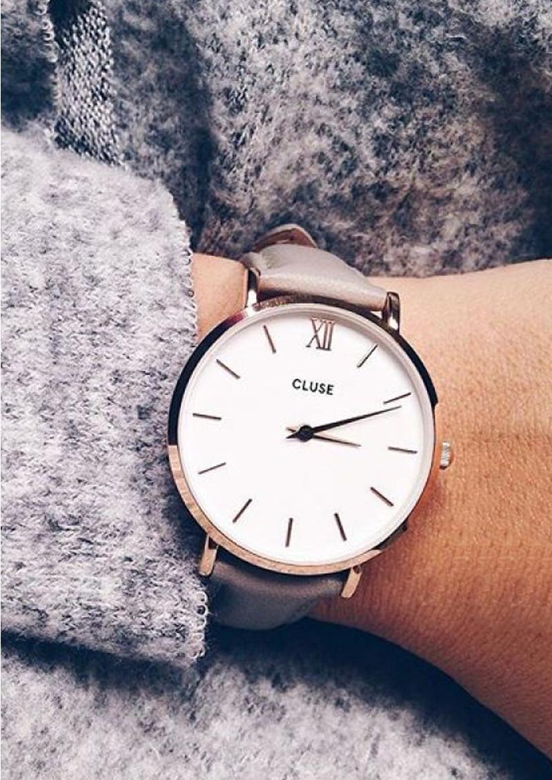 cluse minuit rose gold watch white grey. Black Bedroom Furniture Sets. Home Design Ideas