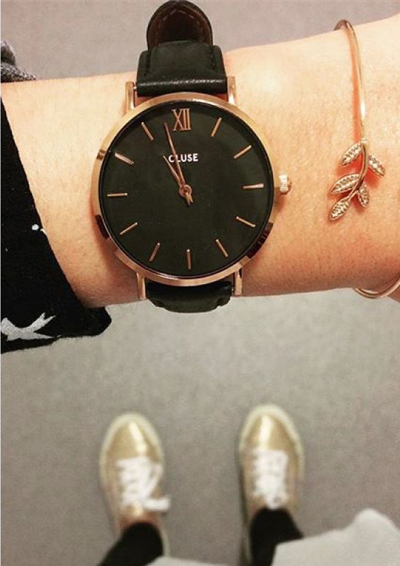 Minuit Rose Gold Watch - Black & Black main image
