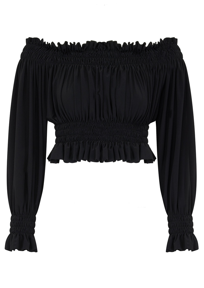 KAMALI KULTURE Cropped Peasant Top - Black main image