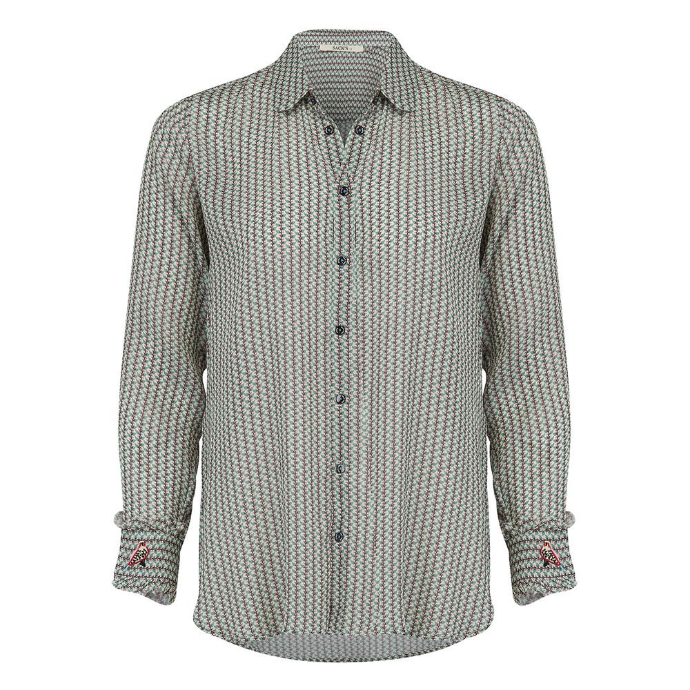 Printed Silk Mix Shirt - Succulent