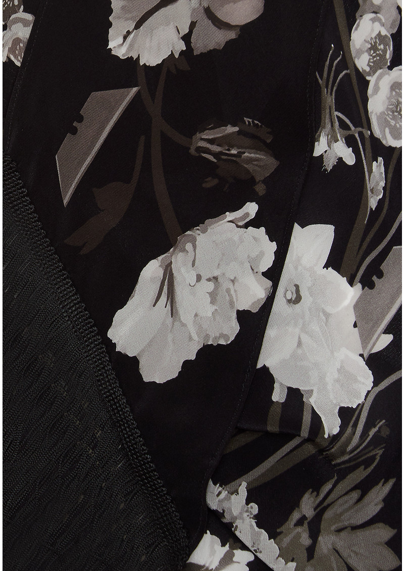 ROCKINS Flora Classic Skinny Fringed Scarf - Monochrome main image