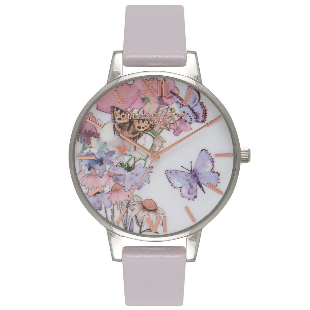 Painterly Prints Butterfly Watch - Grey Lilac, Silver & Rose Gold