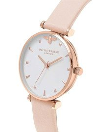 Olivia Burton Queen Bee T-Bar Watch - Nude Peach & Rose Gold