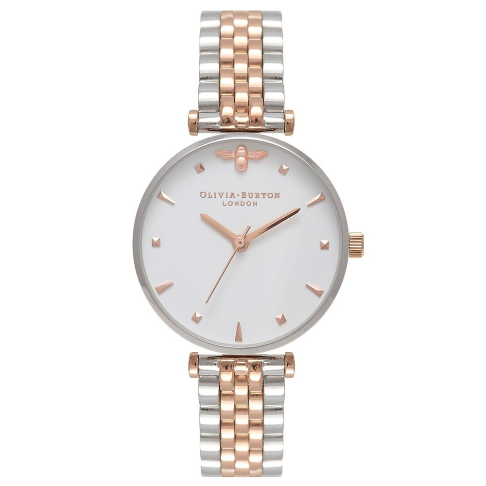 Queen Bee T-Bar Bracelet Watch - Silver & Rose Gold