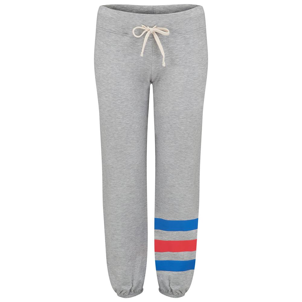 Striped Heart Sweatpants - Heather Grey