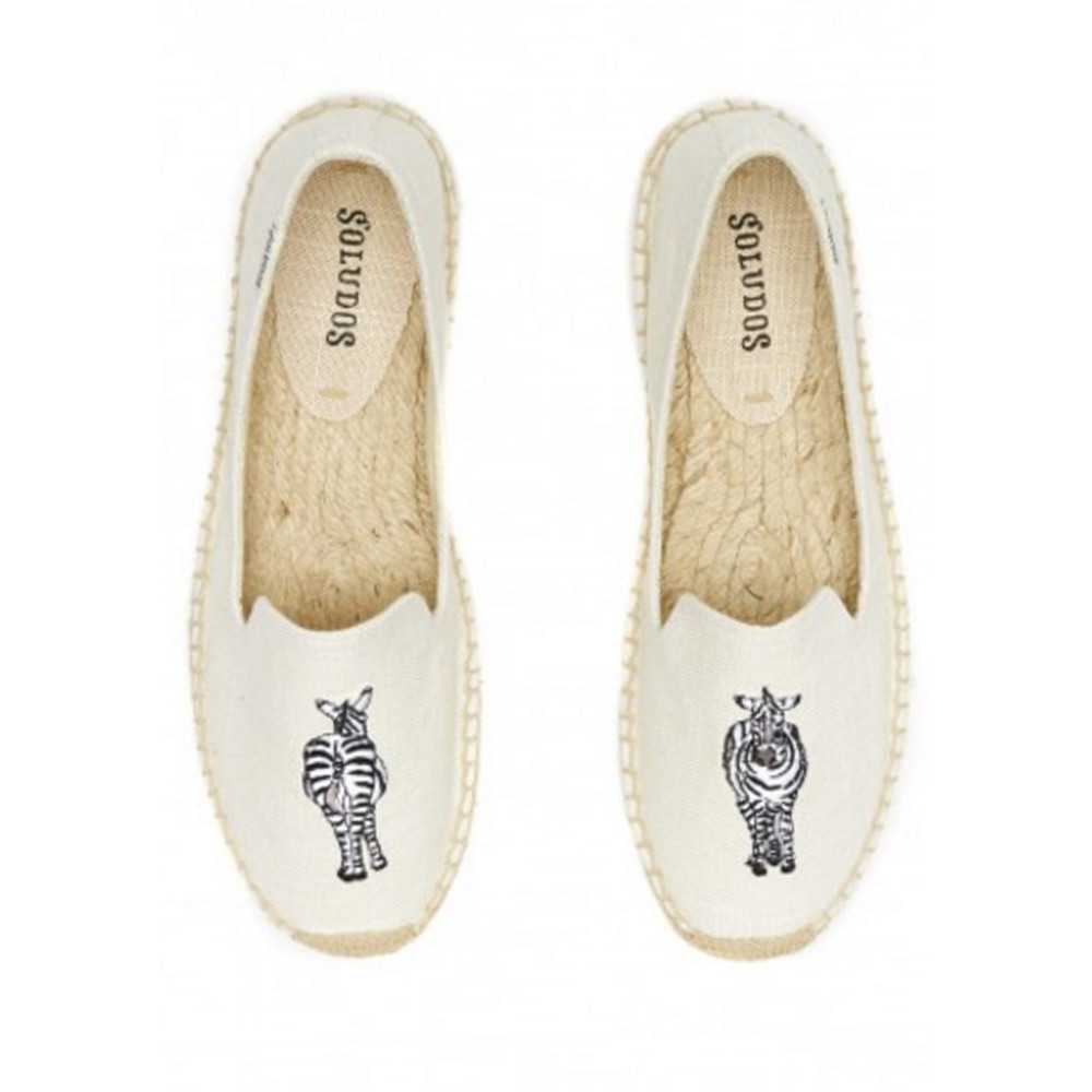Zebra Embroidered Smoking Slipper - White