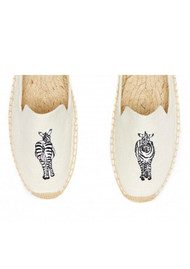 SOLUDOS Zebra Embroidered Smoking Slipper - White