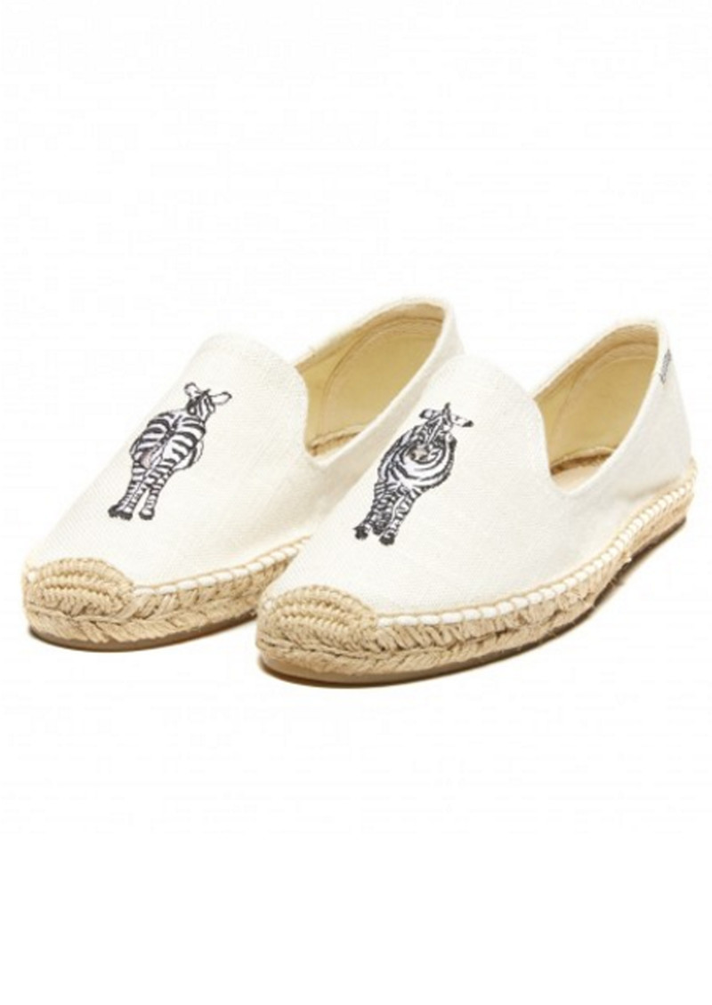 SOLUDOS Zebra Embroidered Smoking Slipper - White main image