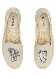 SOLUDOS Elephant Embroidered Smoking Slipper - Sand