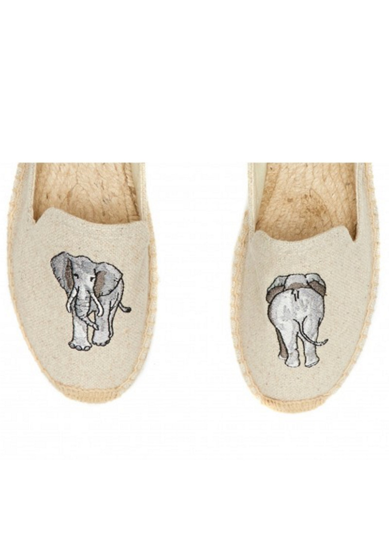 SOLUDOS Elephant Embroidered Smoking Slipper - Sand main image