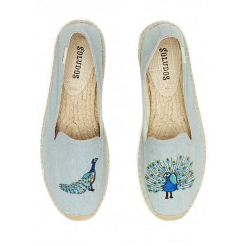 Peacock Embroidered Smoking Slipper - Chambray