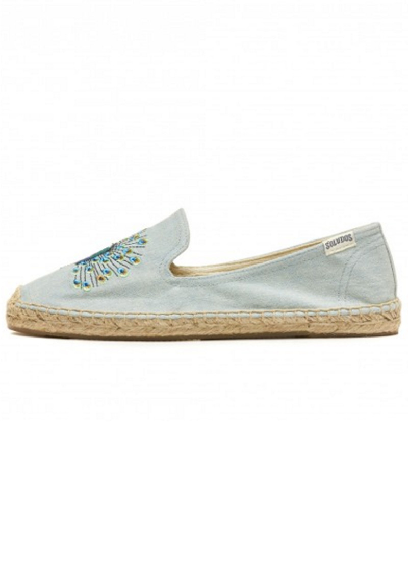 SOLUDOS Peacock Embroidered Smoking Slipper - Chambray main image