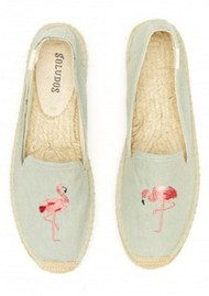 SOLUDOS Flamingo Embroidered Smoking Slipper - Chambray