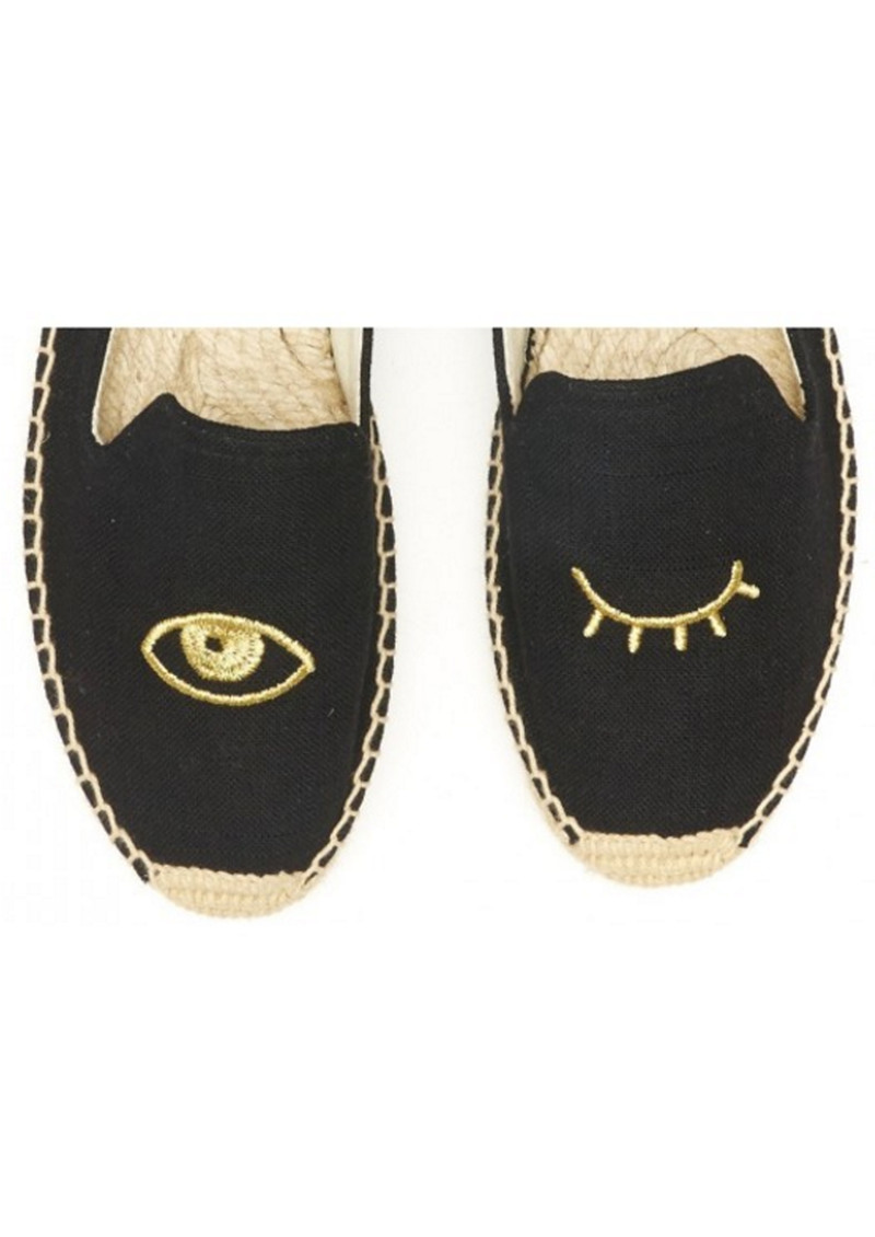 SOLUDOS Wink Embroidered Smoking Slipper - Black & Gold main image